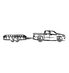 Pickup truck trailer cargo shipping image vector