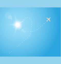 plane in sky and heart shape vector image