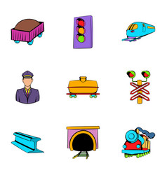 Platform icons set cartoon style vector