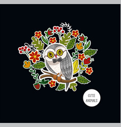 Postcard with cute baby owl and flowers for kids vector