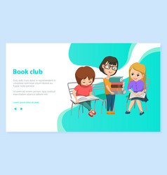 Reading school children book club image vector