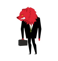 Red Bear Businessman Player on the stock exchange vector image