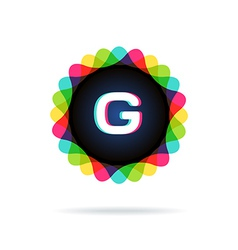 Retro bright colors Logotype Letter G vector