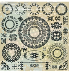 Round floral pattern elements collection vector