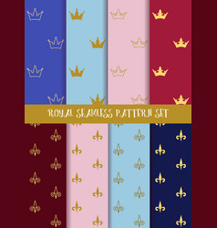 Royal seamless pattern set Crowns and lily vector
