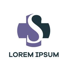 S letter logo design letter s in plus medical vector