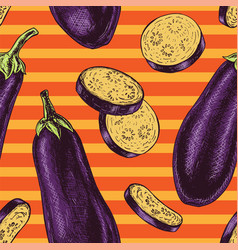 seamless pattern with eggplant sketch vector image