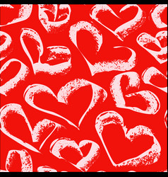 seamless white hearts pattern on a red background vector image