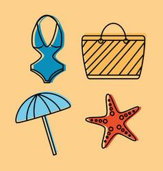 set icons best summer season vacation vector image