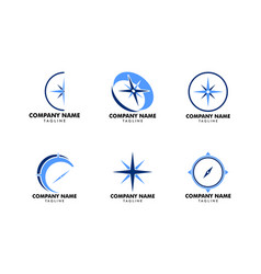 set of compass logo template icon design vector image