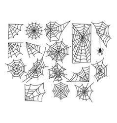 Set web silhouettes spider web collection for vector