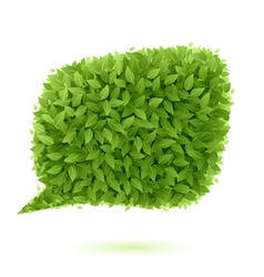 Speech bubble of green leaves vector image