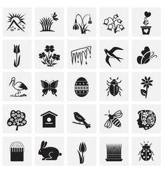 Spring set on squares background vector