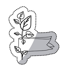 Sticker silhouette picture plant with leaves and vector