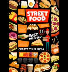 Street food and fastfood delivery service vector
