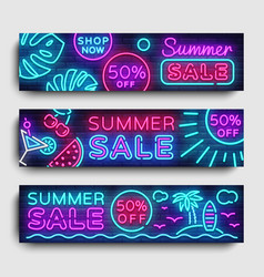 Summer sale neon collection horizontal banner vector