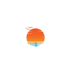 sunset and seagulls in beach logo design vector image