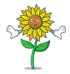 Surprised sunflower mascot cartoon style vector