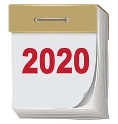 Tear-off calendar new year 2020 isolated on white vector
