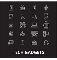 tech gadgets editable line icons set on vector image