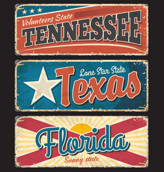 tennessee texas and florida states rusty plates vector image