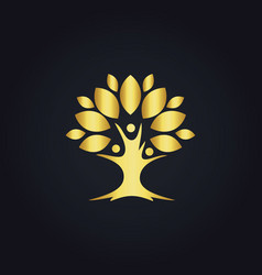 tree botany life nature gold logo vector image