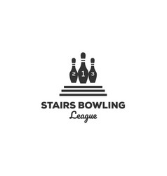 vintage bowling logo designs with stairs vector image