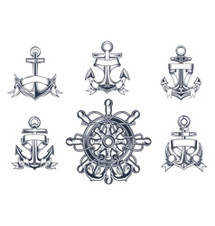 Vintage marine and nautical icons vector image