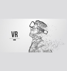 Vr polygonal man wearing virtual reality glasses vector