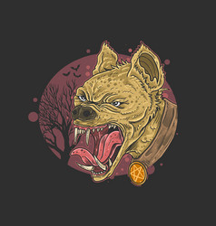 Wild hyena angry face head carnivore vector