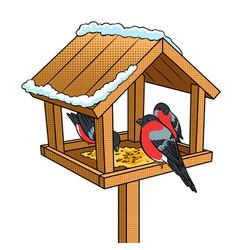Winter bird feeder pop art vector