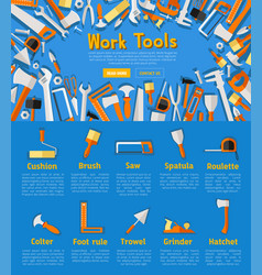 work tools poster for hardware store design vector image