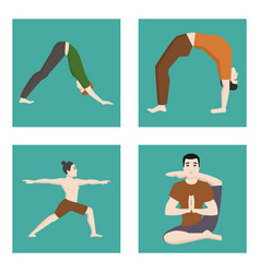 Yoga positions mans characters class cards vector