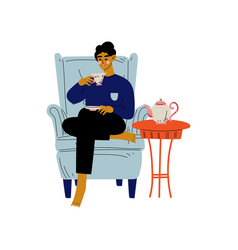young man sitting in armchair with cup coffee vector image