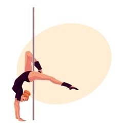 Young pole dance woman in black leotard doing hand vector