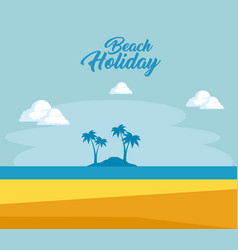beautiful landscape summer time on the beach vector image vector image