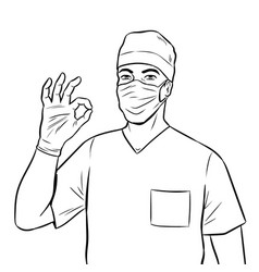 doctor shows ok gesture coloring book vector image vector image
