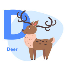 funny alphabet with cartoon animal blue letter d vector image vector image