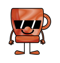 grated happy coffee cup kawaii with arms and legs vector image vector image
