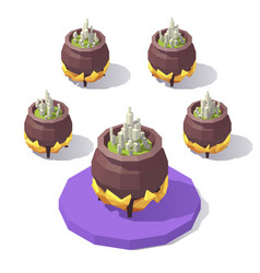 isometric low poly cauldron vector image vector image