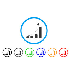 bar chart positive trend rounded icon vector image vector image