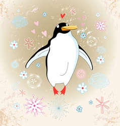 cheerful penguin lover vector image