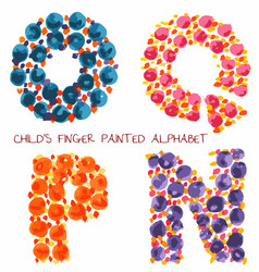 colorful funny paint alphabet oqpn letters vector image