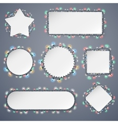 Empty Christmas Banners With Lights Decorations vector image
