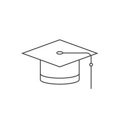 graduation cap thin line icon vector image
