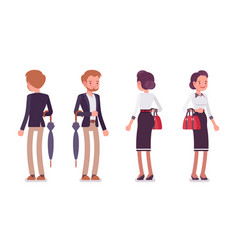 lady and gentleman standing rear and front view vector image vector image