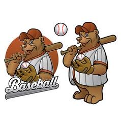 bear cartoon baseball player vector image vector image