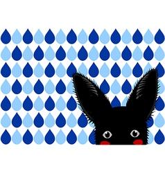 Black Rabbit Blue Raindrops Background vector image vector image