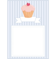 Blue invitation empty card with muffin and heart vector image vector image
