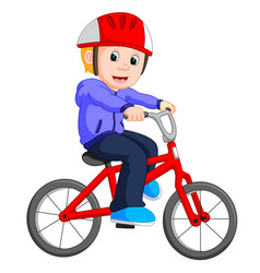 boy cycling cartoon vector image